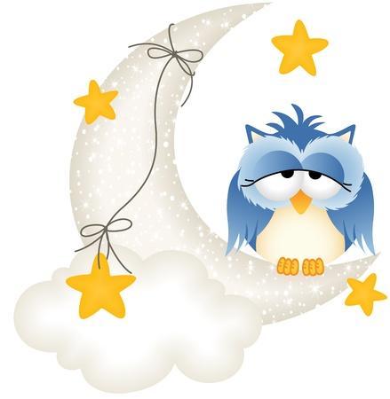 hibou: Owl somnolait sur la lune