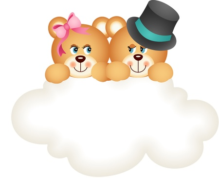 Couple teddy bears on the cloud Vector