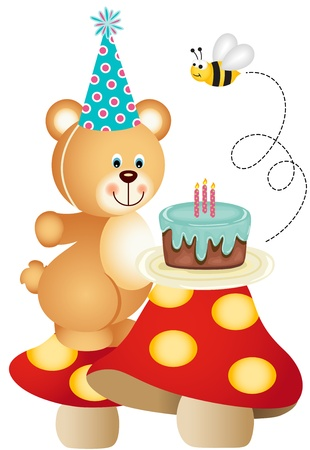 bee birthday party: Teddy bear and birthday cake on mushrooms