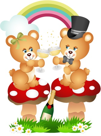 mushroom illustration: Teddy bear couple toasting with champagne