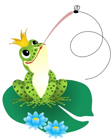 Frog catching a fly Vector