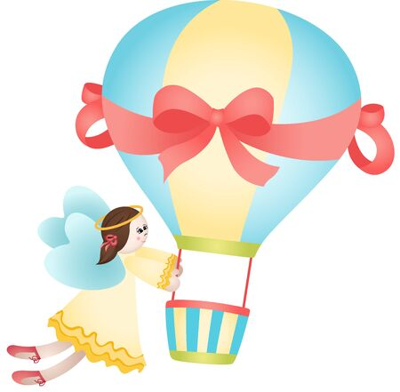 balloon girl: Flying fairy hot air balloon Illustration