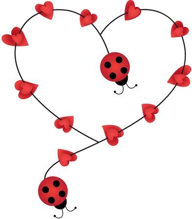 Ladybugs que forman la forma del corazón Ilustración de vector