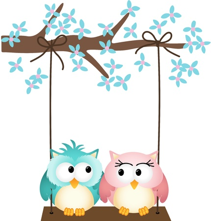 Two owls in love on a swing