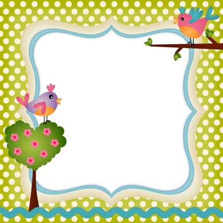 nature photo: Floral frame with a birds Illustration