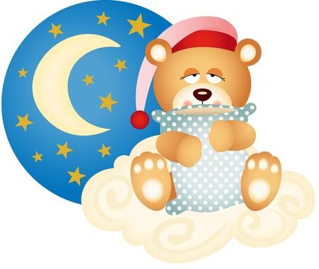 bonnet illustration: Good night teddy bear Illustration