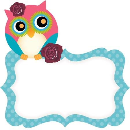 isolated owl: Lindo b�ho etiqueta