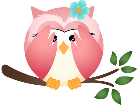 Owl with both wings in cover her eyes Illustration
