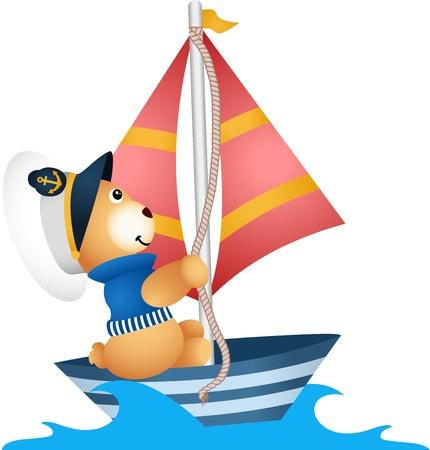 Teddy bear sailor in a boat