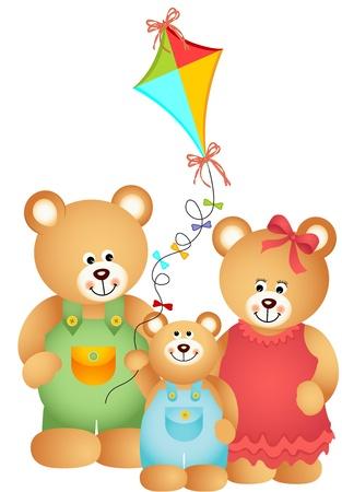 oso caricatura: Familia del oso de peluche Vectores