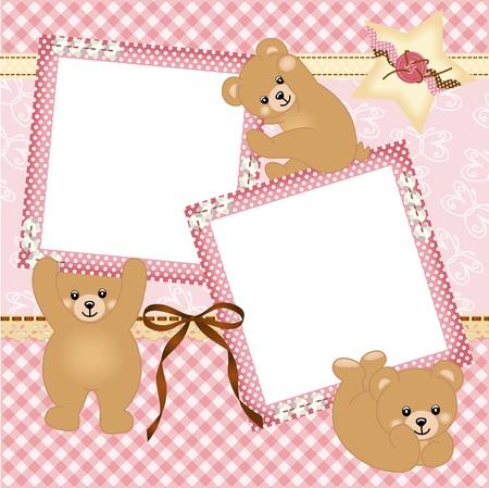 scrapbook frame: Baby girl photo frame with teddy bear Illustration