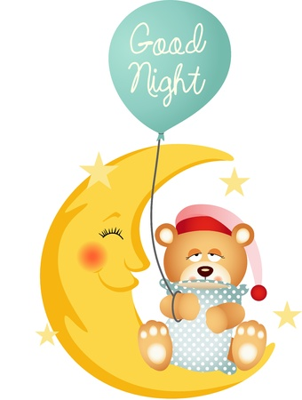 Good night teddy bear sitting on a moon Vector