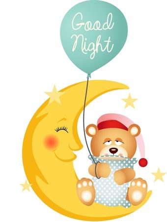 bonnet illustration: Good night teddy bear sitting on a moon Illustration