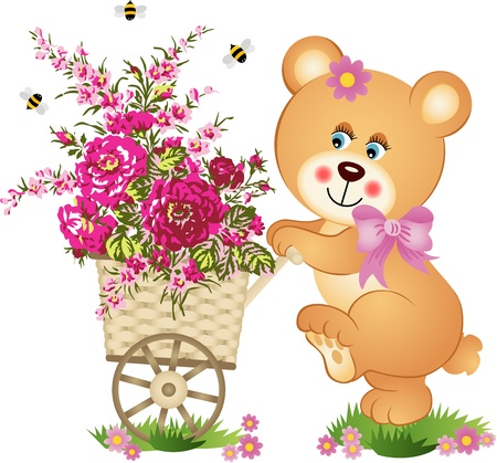 Teddy bear pushing a cart of flowers