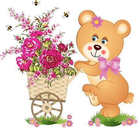 Teddy bear pushing a cart of flowers