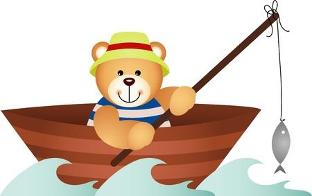 ocean fishing: Teddy bear fishing in a boat Illustration