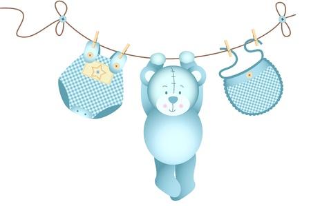 cartoon clothes: Teddy bear baby boy hanging on a clothesline