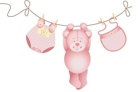 clothesline: Teddy bear baby girl hanging on a clothesline