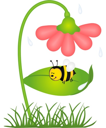 sheltered: Bee is sheltered from rain under a flower
