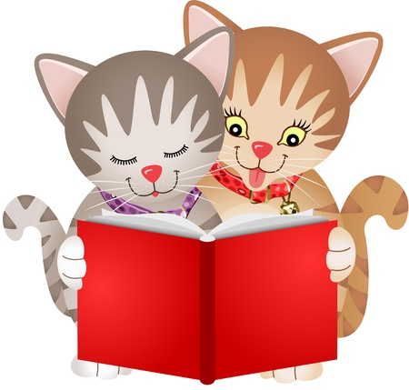 Cats reading a book Illustration