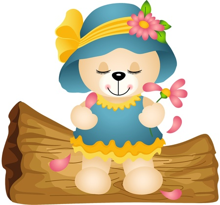 Teddy bear playing loves me not with flower petals Vector