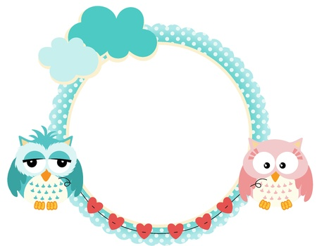 Cute frame with owls couple Vector
