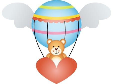 air animals: Teddy bear in a hot air balloon with angel wings Illustration