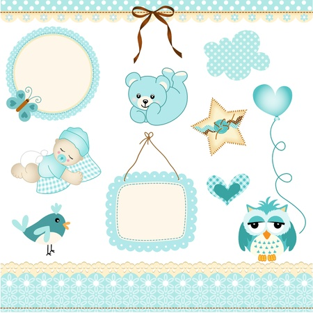 newborns: Baby boy design elements Illustration