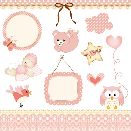 Baby girl design elements Illustration