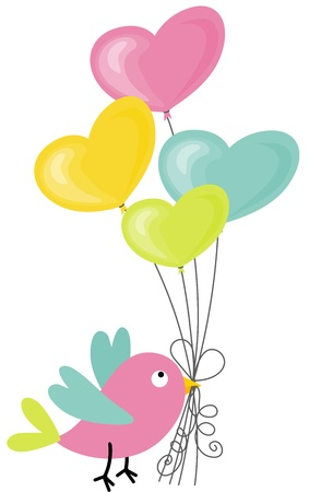 Birdie holding a heart-shaped balloons