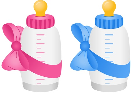 nacimiento: Botella de beb� con la pajarita