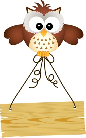 Owl holding wooden sign Vector