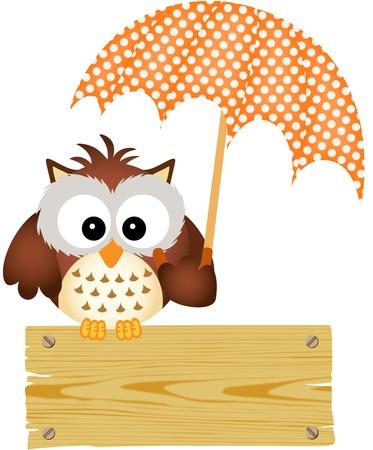 傘の木製看板にフクロウ  イラスト・ベクター素材
