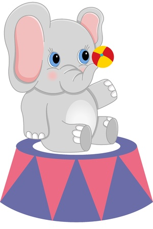 Baby circus elephant with ball Vector