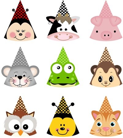 bee birthday party: Animal Party Hats Illustration