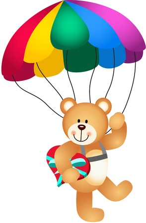 Teddy bear parachute holding heart Illustration