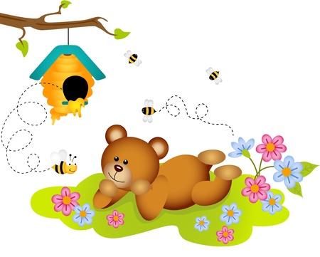 admiring: Teddy bear admiring beehive