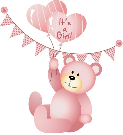 It s a Girl Teddy Bear Illustration