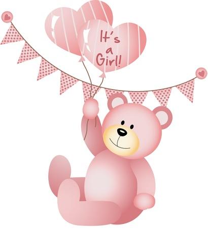 It s a Girl Teddy Bear Illustration