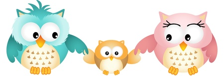 sowa: Happy Family Owl