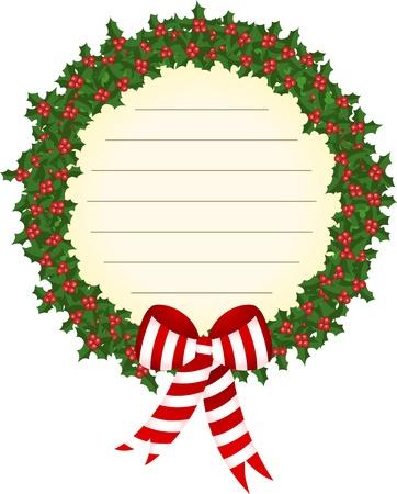 adventskranz: Weihnachten Stechpalmenkranz Etikett