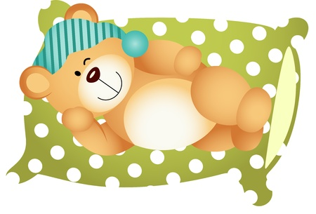sleeping animals: Sleeping on Pillow Cute Teddy Bear