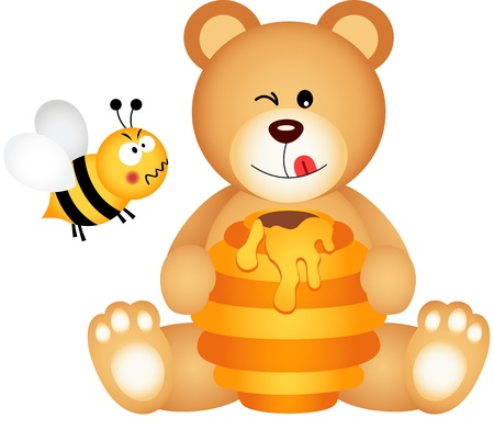 angry teddy: Teddy bear eats honey and bee angry