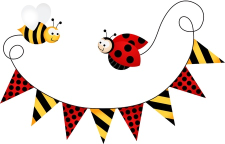bee party: Party Flag Ladybird and Bee