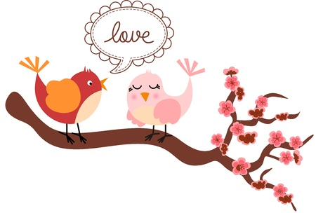 flower clip art: Love Birds in Cherry Tree