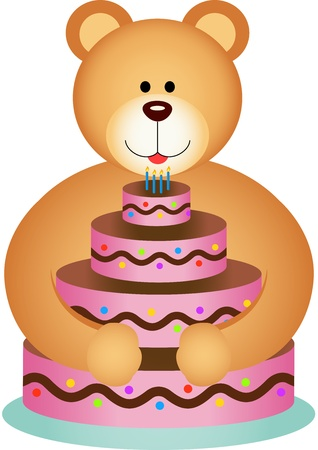 Teddy Bear Hugging Birthday Cake Vector