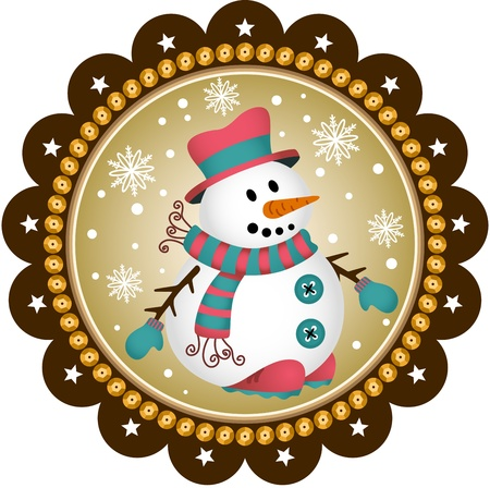 snowman isolated: Snowman label