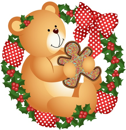 Christmas teddy bear with cookie in crown Vector