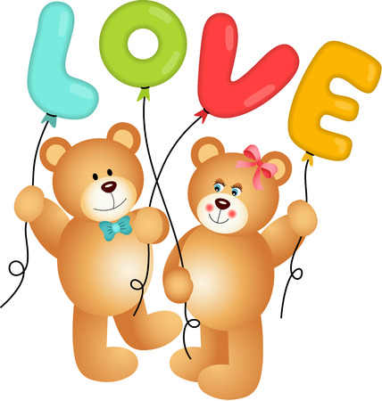 Cute Couple of Teddy Bear holding Love Balloon Vector