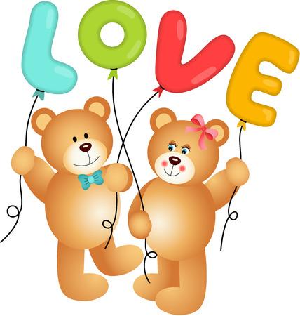 passionate: Cute Couple of Teddy Bear holding Love Balloon Illustration